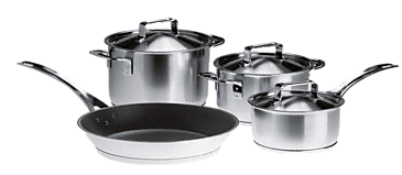 "KMTS 5704 - iittala cookware, set of 4 pans from the ""All Steel"" range by Harri Koskinen, satin finish exclusively f. Miele.--NO_COLOR"
