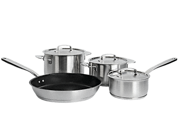 "KMTS 5704-1 - iittala cookware, set of 4 pans from the ""All Steel"" range by Harri Koskinen, satin finish exclusively f. Miele.--NO_COLOR"